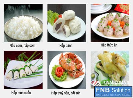 Một vài món ăn được nấu bằng tủ nấu cơm công nghiệp 6 khay dùng gas hoặc điện
